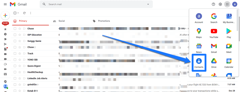 Google Contacts in Gmail