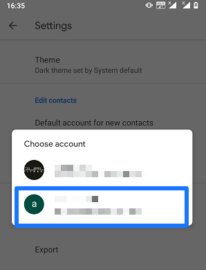 Select The account