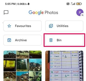 Trash icon on Google photo android
