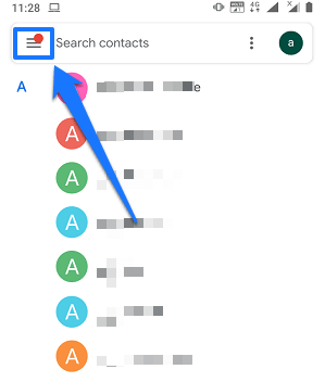 Contacts on Google Account