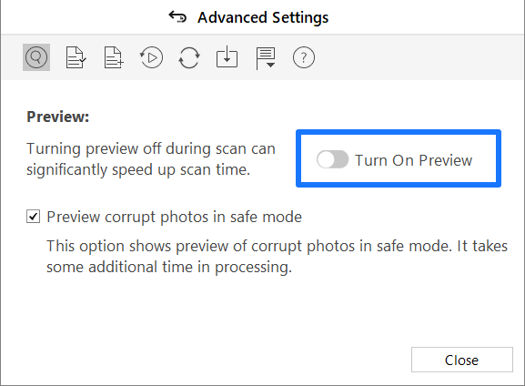 Preview settings