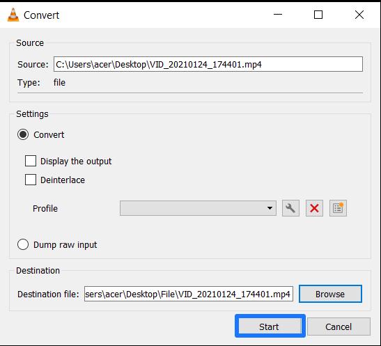 Start converting video