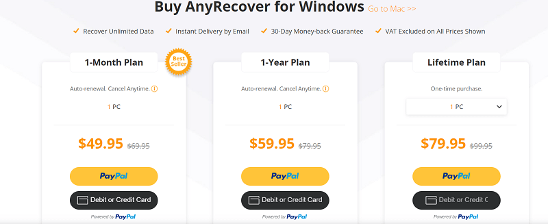 AnyRecover pricing