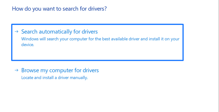 Search automatically for driver