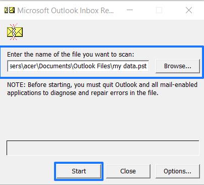 Add pst file to scanpst