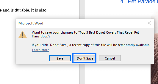 Don't save the document