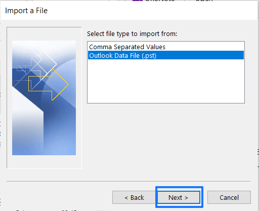 outlook data file import