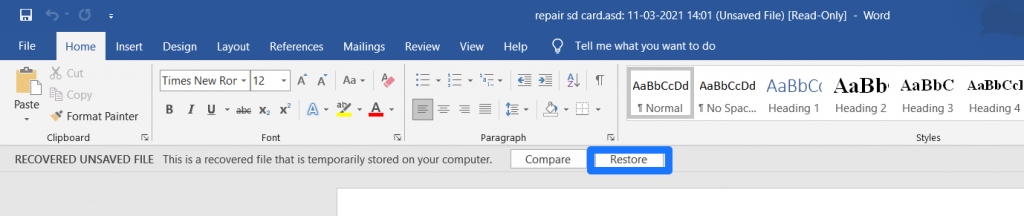 recover previous version of word document