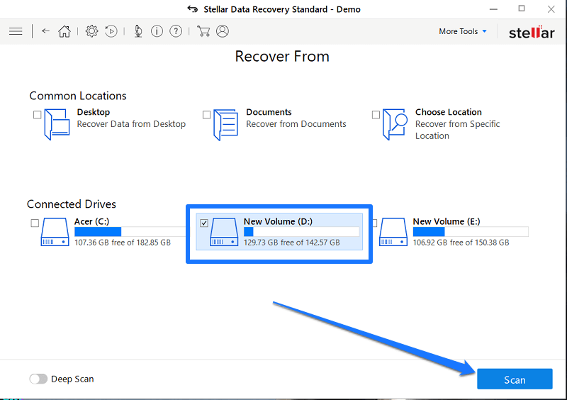 Select the drive for recovery